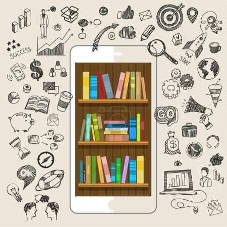 Illustration pour Concept d'éducation en ligne. E-learning science avec smartphone comme étagères. Conception plate, illustration vectorielle - image libre de droit
