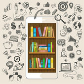 Concept of online education E-learning science with smartphone like bookshelves Flat design vector illustration