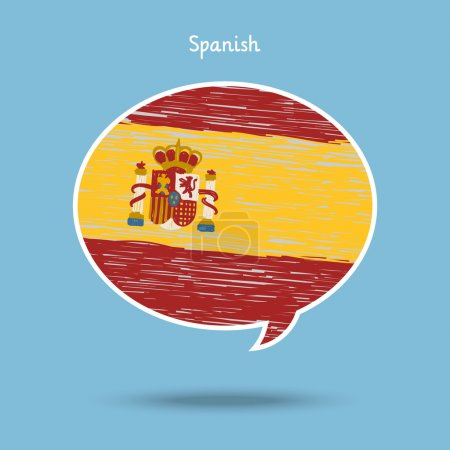 Illustration for Concept of travel or studying Spanish. Speech bubble with hand drawn Spanish flag. Flat design, vector illustration - Royalty Free Image