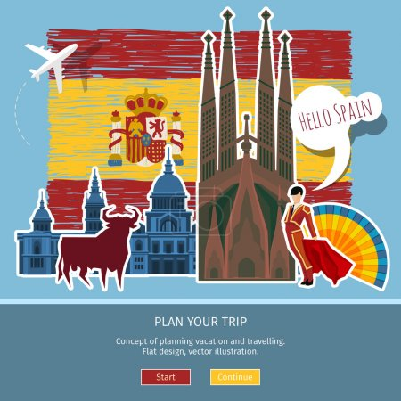 Illustration for Concept of travel or studying Spanish . Hand drawn Spanish flag with landmarks. Flat design, vector illustration - Royalty Free Image