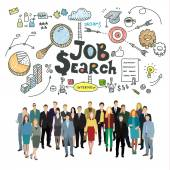 Concept of job search Business people in search of work Flat design vector illustration