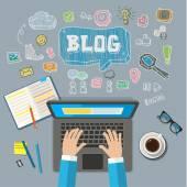 Scrivendo un articolo per il blog sul computer