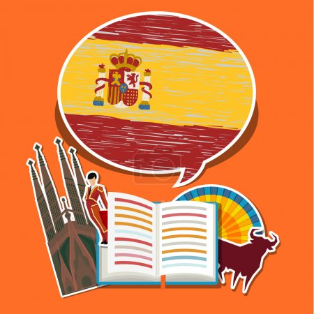 Illustration for Concept of travel or studying Spanish. Open book with hand drawn Spanish flag and Spanish symbols. Flat design, vector illustration - Royalty Free Image