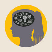 Concept of education Doodles in form of head Vector illustration