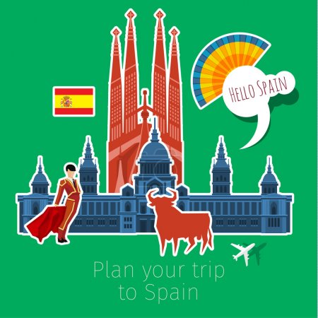 Concept of travel or studying Spanish