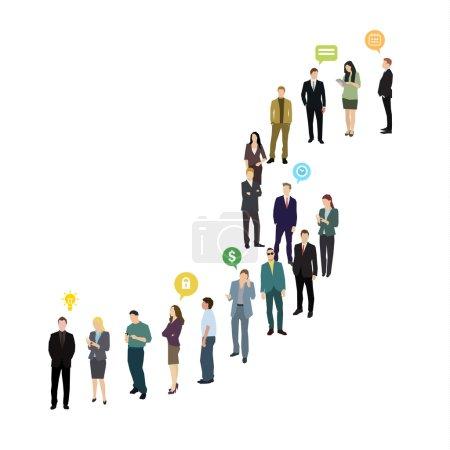 Photo pour Groupe de gens d'affaires et de bureaux faisant la queue. Conception plate, illustration vectorielle - image libre de droit