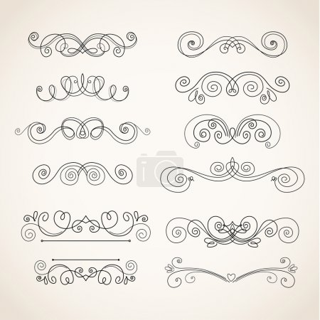 Illustration for Vector Illustration of Decorative Vintage Elements on white background - Royalty Free Image