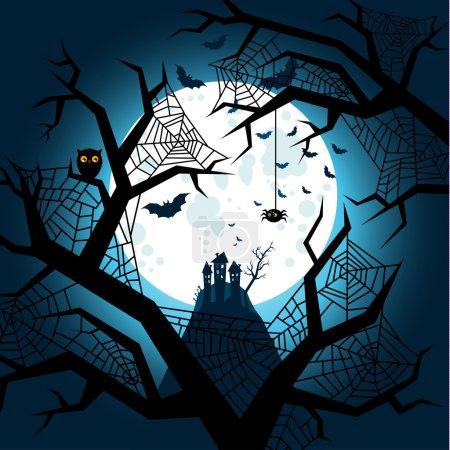 Illustration pour Chauves-souris Halloween volant la nuit sur la pleine lune - image libre de droit