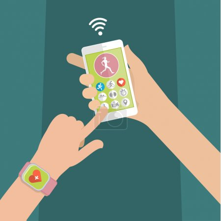 Concept of smart watch with mobile app
