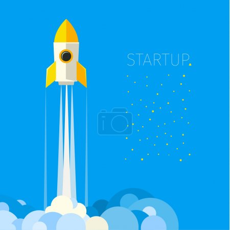 Concept of start up rocket in sky