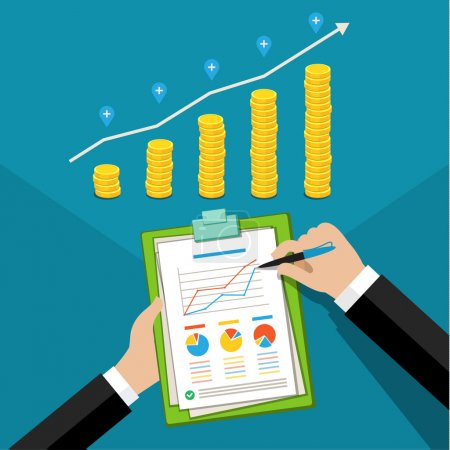 Illustration for Concept of business success. Financial business plan, hand with report and golden coins. Flat design, vector illustration. - Royalty Free Image