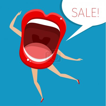 Concept of sale. Open mouth with legs and hands. V...
