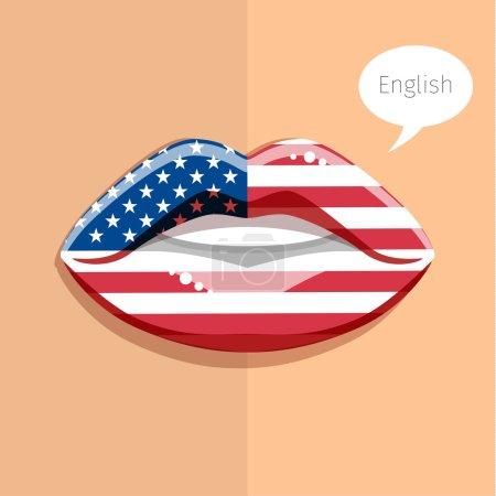 Illustration pour Concept de langue anglaise américaine. Lèvres glamour avec maquillage du drapeau britannique, visage de femme. Conception plate, illustration vectorielle - image libre de droit