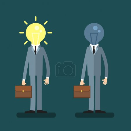 Businessmen with light bulbs
