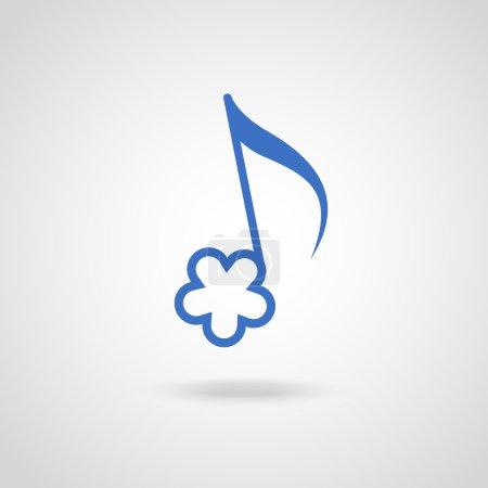 Illustration pour Note vectorielle en forme de fleur bleue. Icône mignonne musicale originale simple avec concept de mélodie joyeuse estivale et écoute facile - image libre de droit