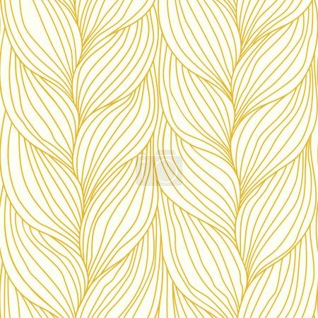 Illustration pour Modèle vectoriel sans couture avec tissage de tresses. Fond abstrait sous la forme de coiffure en tresses - image libre de droit