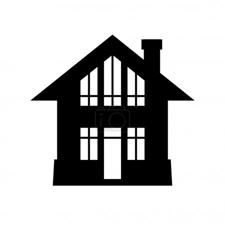 Illustration for Vector house icon. Simple black and white sign of real estate - Royalty Free Image