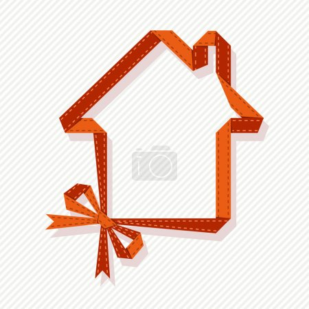 Illustration for Vector banner in shape of house with red paper ribbon and bow - Royalty Free Image