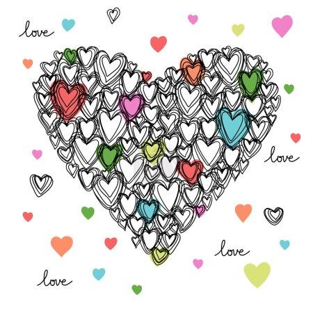 Illustration pour Coeur fait de petits coeurs de gribouillis. Romantique dessiné à la main élément de conception de fond - image libre de droit