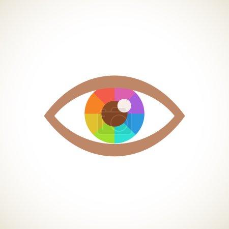 Illustration pour Icône à œil vectoriel avec spectre de pupilles. Illustration simple pour impression, web - image libre de droit