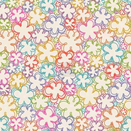 Seamless pattern with flowers of doodles