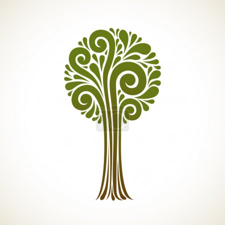 Illustration for Background with tree of swirl element. Decorative icon. Concept of art and creation - Royalty Free Image