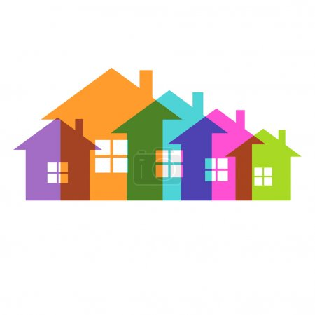 Illustration for Vector color house icon. Group of cottage. Simple sign of real estate - Royalty Free Image