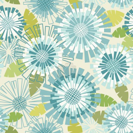 Illustration for Vector seamless pattern with flowers and leaves. Floral colorful summery background with stylized blooming chrysanthemums - Royalty Free Image