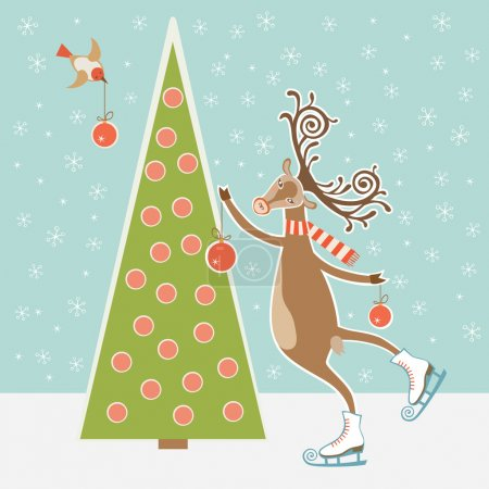 Christmas tree and skating deer