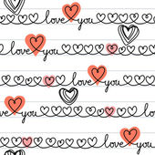 Vector seamless pattern with stylized hearts of doodles amorous lettering Love You on sheet of notebook