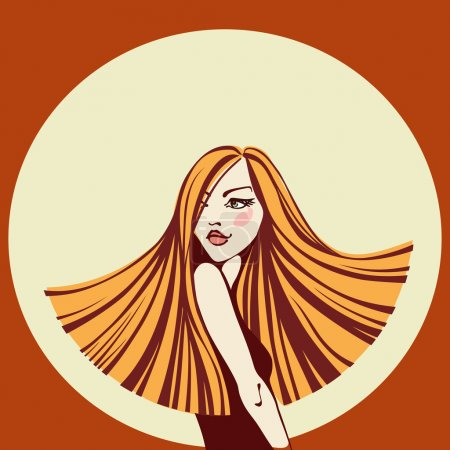 Illustration pour Vector beautiful young woman with long hair. Fashion vintage illustration with concept of beauty and hairdressing - image libre de droit