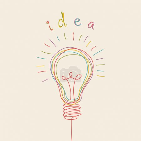 Illustration for Vector light bulb icon with concept of idea. Doodle hand drawn sign - Royalty Free Image