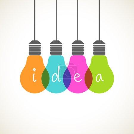 Illustration pour Vector light bulb icons with concept of idea. Color original sign of co-creativity - image libre de droit