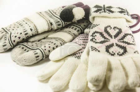 Photo for Natural woolen gloves and mittens isolated on white background. - Royalty Free Image