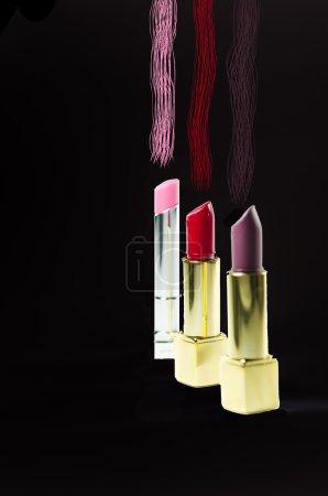 Glamour beautiful lipsticks with gold