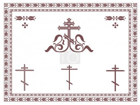 Ornamental orthodox cross, geometric orthodox crosses, frames and decorative elements.