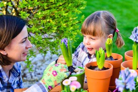 Photo pour Enfant fille plantation de bulbes de fleurs. Jardin, concept de plantation - mère et fille plantant des bulbes de tulipes et de jacinthes dans de petits pots - image libre de droit