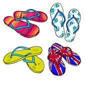 Sada letní obuvi. Doodle kreslený žabky izolovaných na bílém