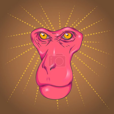 Monkey pink face and yellow eyes without borders