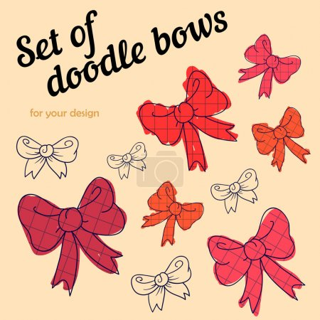 Illustration for Set of doodle cartoon bows on a beige background - Royalty Free Image