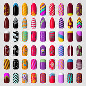 Set of colored painted nails manicure nail polish isolated on a white background