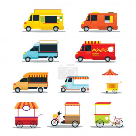 Food Vehicles, Truck, Van, Pushcart, Color Set