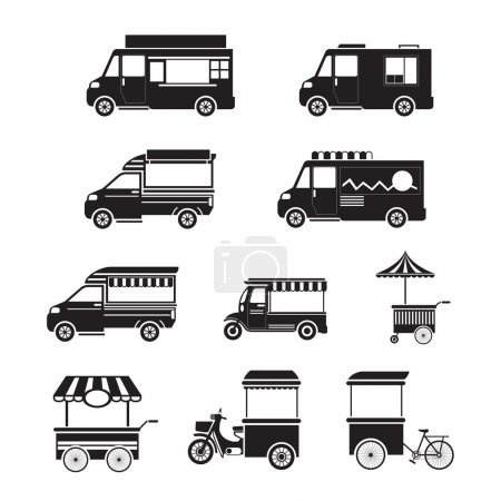 Food Vehicles, Truck, Van, Pushcart, Mono Set