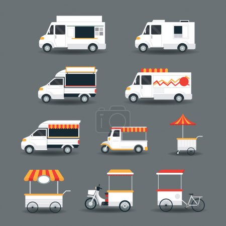 Food Vehicles, Truck, Van, Pushcart, White Body Set