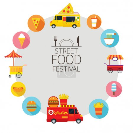 Food Truck, Street Food Icons Frame