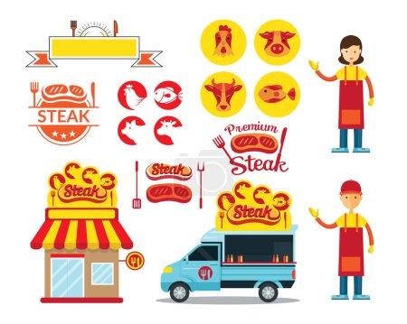 Steak Shop Graphic Elements