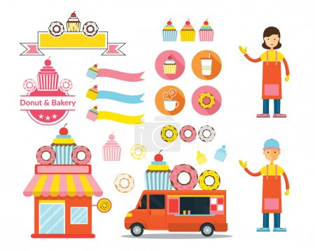 Donut and Bakery Shop Graphic Elements