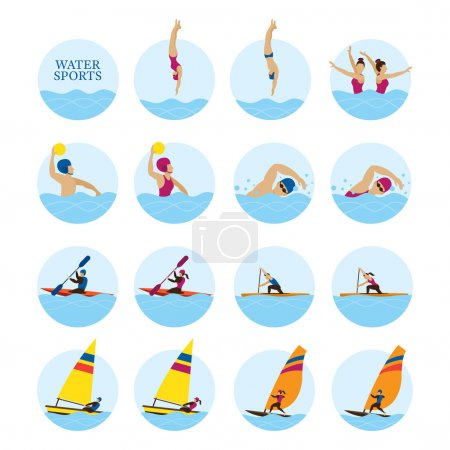 Sports Athletes, Water Sports Icons Set