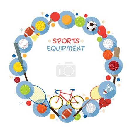 Sports Equipment, Flat Icons Frame