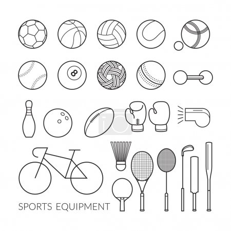 Sports Equipment, Line Icons Set